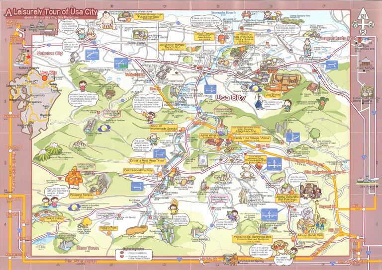 大分の観光情報・ブック・パンフレット・リーフレット・宿・ホテル・グルメなど | :宇佐遊々マップ A Leisurely Tour of Usa City