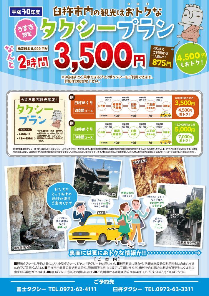 大分の観光情報・ブック・パンフレット・リーフレット・宿・ホテル・グルメなど | :平成30年度 うすき限定タクシープラン